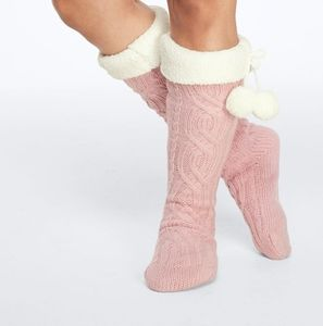 VS PINK Sherpa Lined Pom Pom Knee Socks